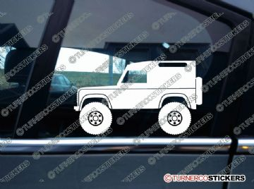 2x Lifted Land Rover Defender 90 VAN offroad 4x4 silhouette stickers